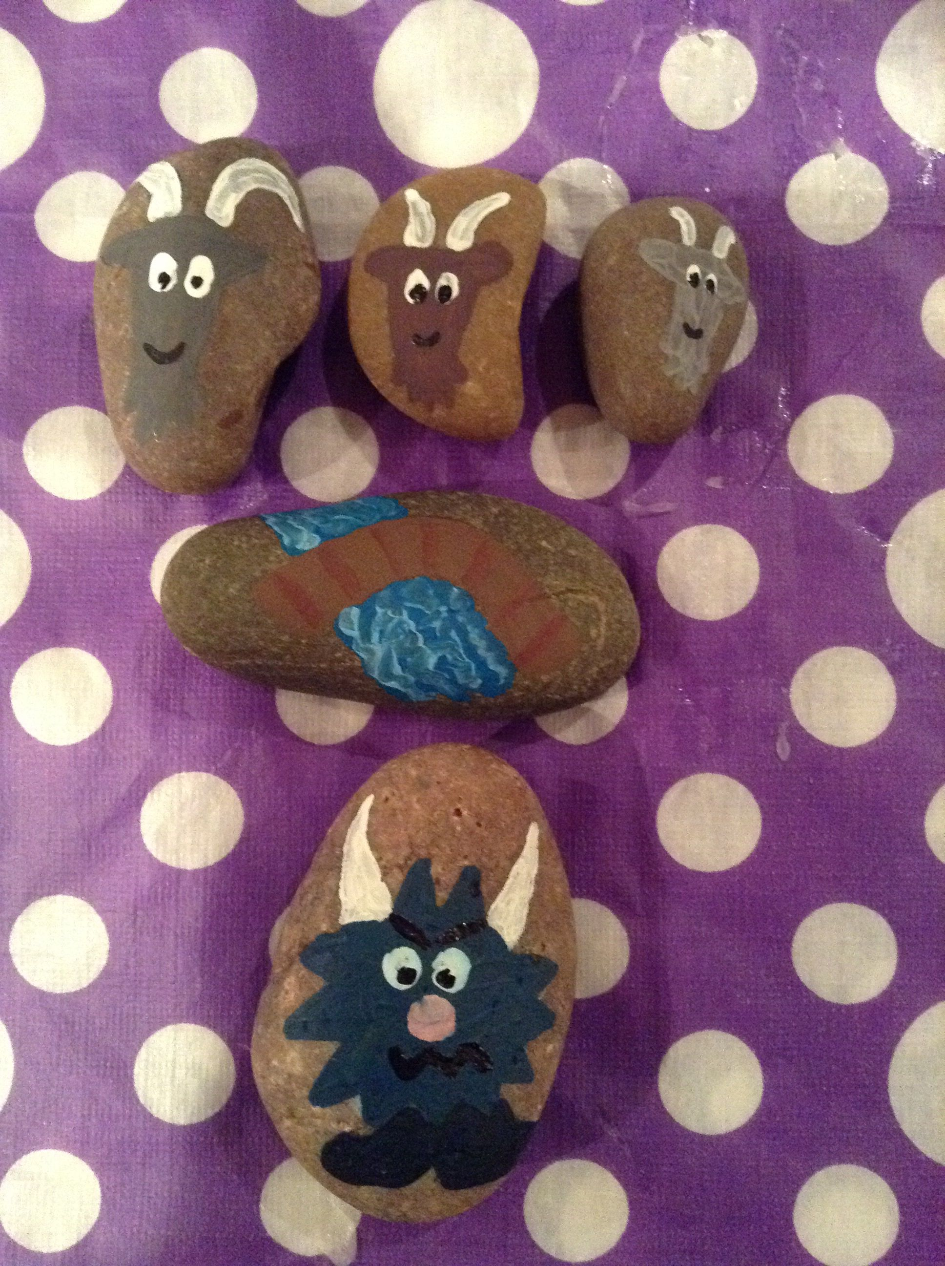 The Three Billy Goats Gruff Story Stones