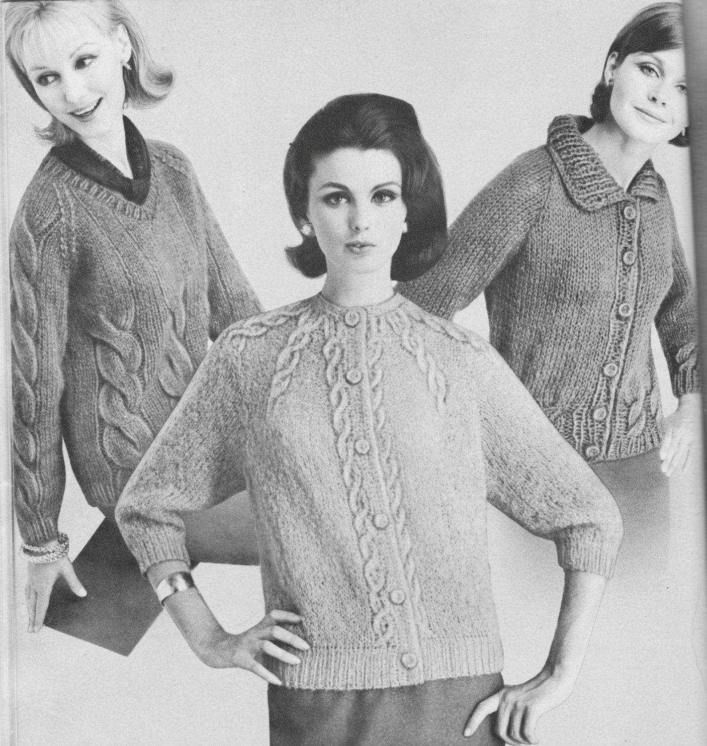 PDF Ladies Cable Bordered Cardigan Knitting Pattern, Women\'s Knit ...