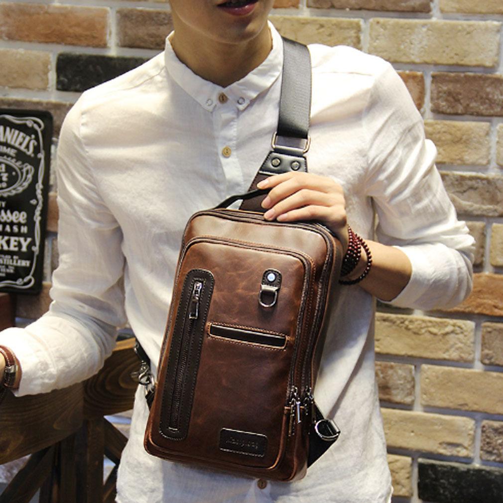 077423d0ab  14.1 - Men s Handbag Pu Leather Sling Messenger Shoulder Bag Chest Pack  Sports Backpack  ebay  Fashion