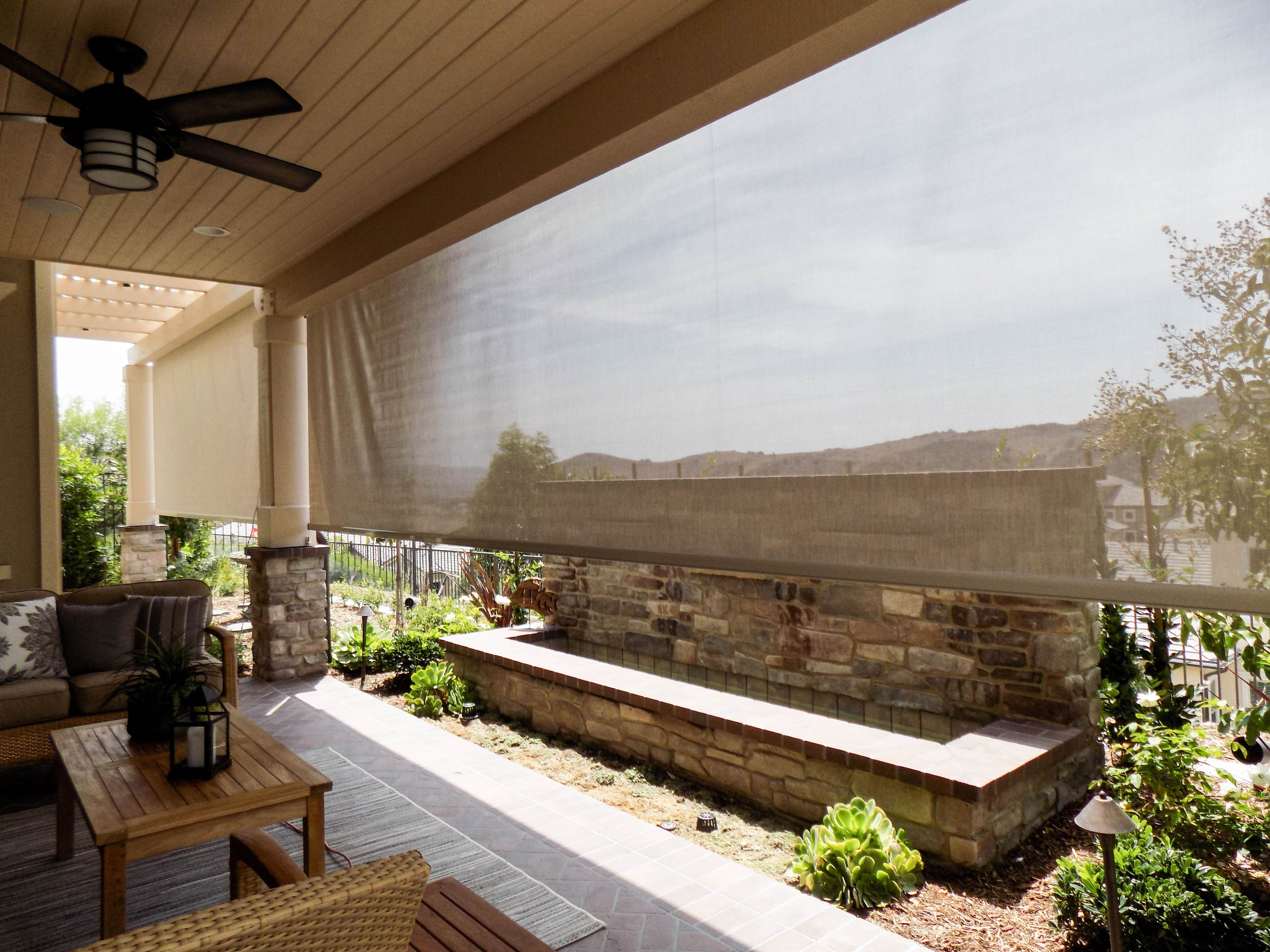 In Orange County We Installed A Retractable Awning With A Drop Valence And Two Motorized Power Screens This Solar Screens Outdoor Living Outdoor Living Space
