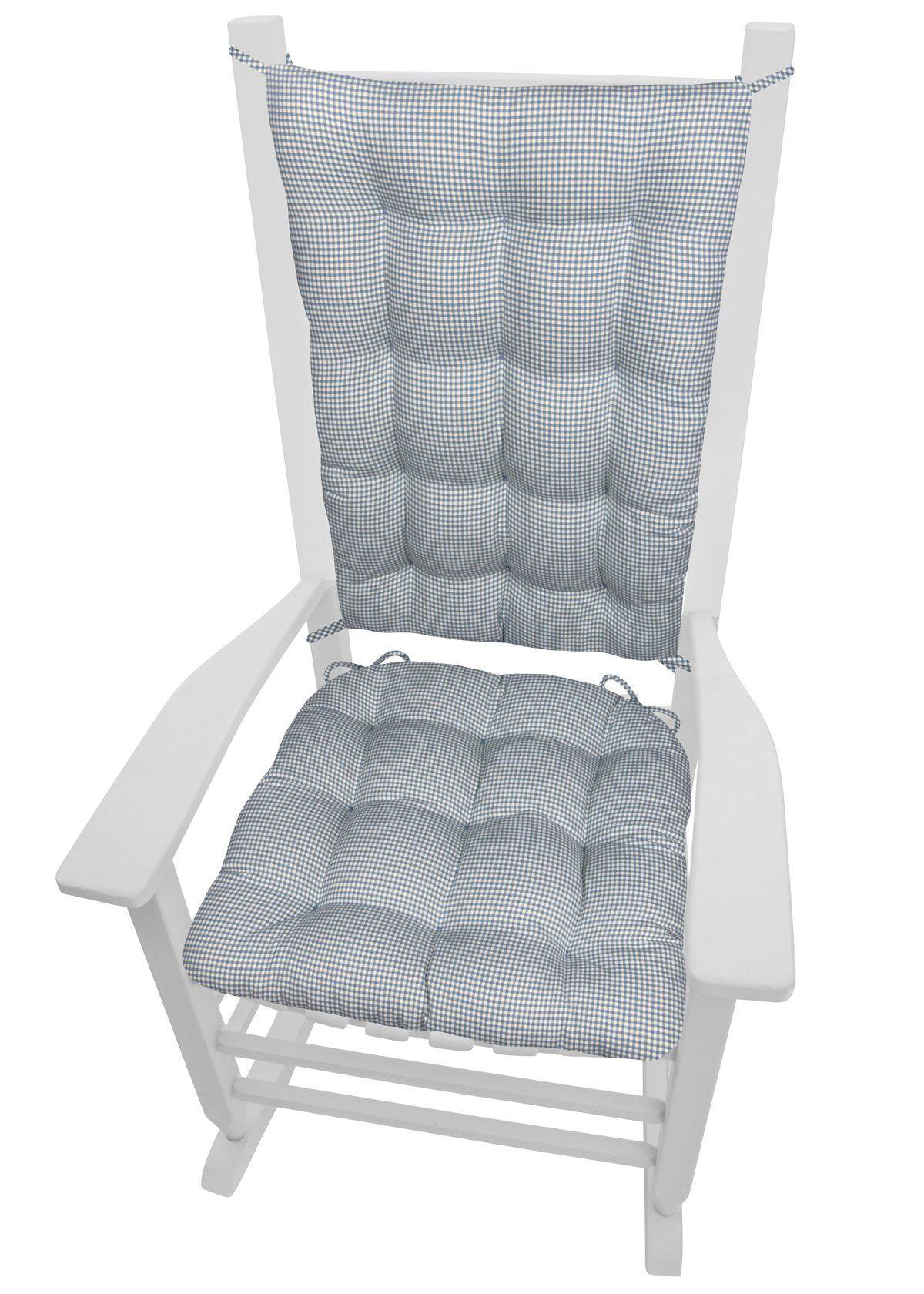 Madrid Lake Blue Gingham Rocking Chair Cushions Rocking