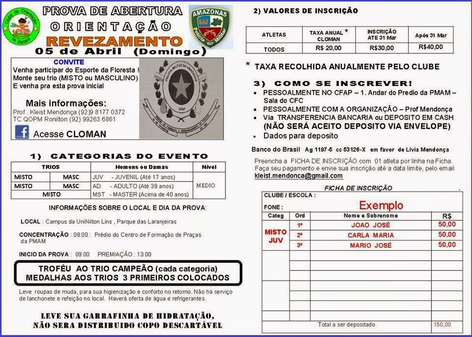 JUNGLE MAN - ESPORTES DE AVENTURA: 05 DE ABRIL (Domingo) - PROVA DE ORIENTAÇÃO!