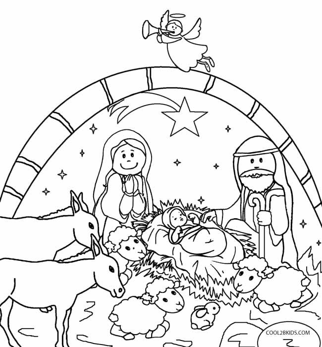 Printable Nativity Scene Coloring Pages for Kids ...