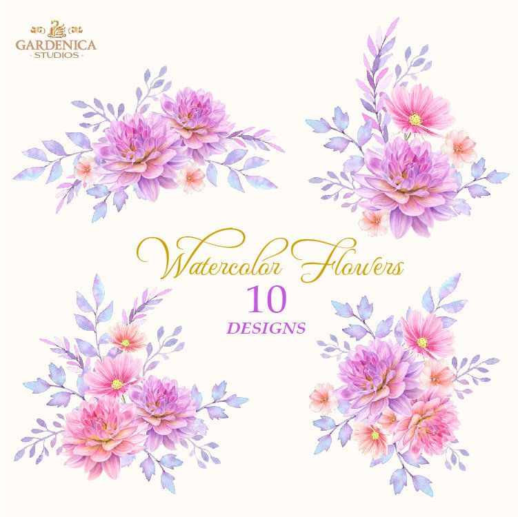 Dahlia Clipart Dahlia Watercolor Watercolor Flower Clipart Etsy Flower Clipart Digital Flowers Watercolor Flowers