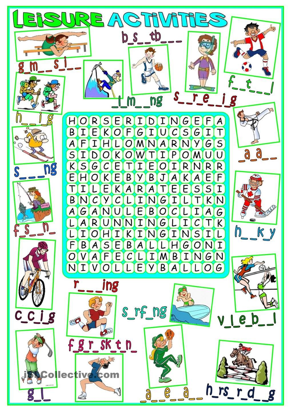 Leisure activities wordsearch English activities, Free