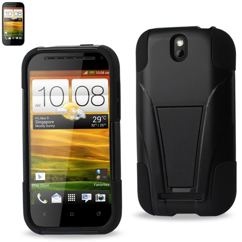 REIKO HTC ONE SV HYBRID HEAVY DUTY CASE WITH KICKSTAND IN BLACK