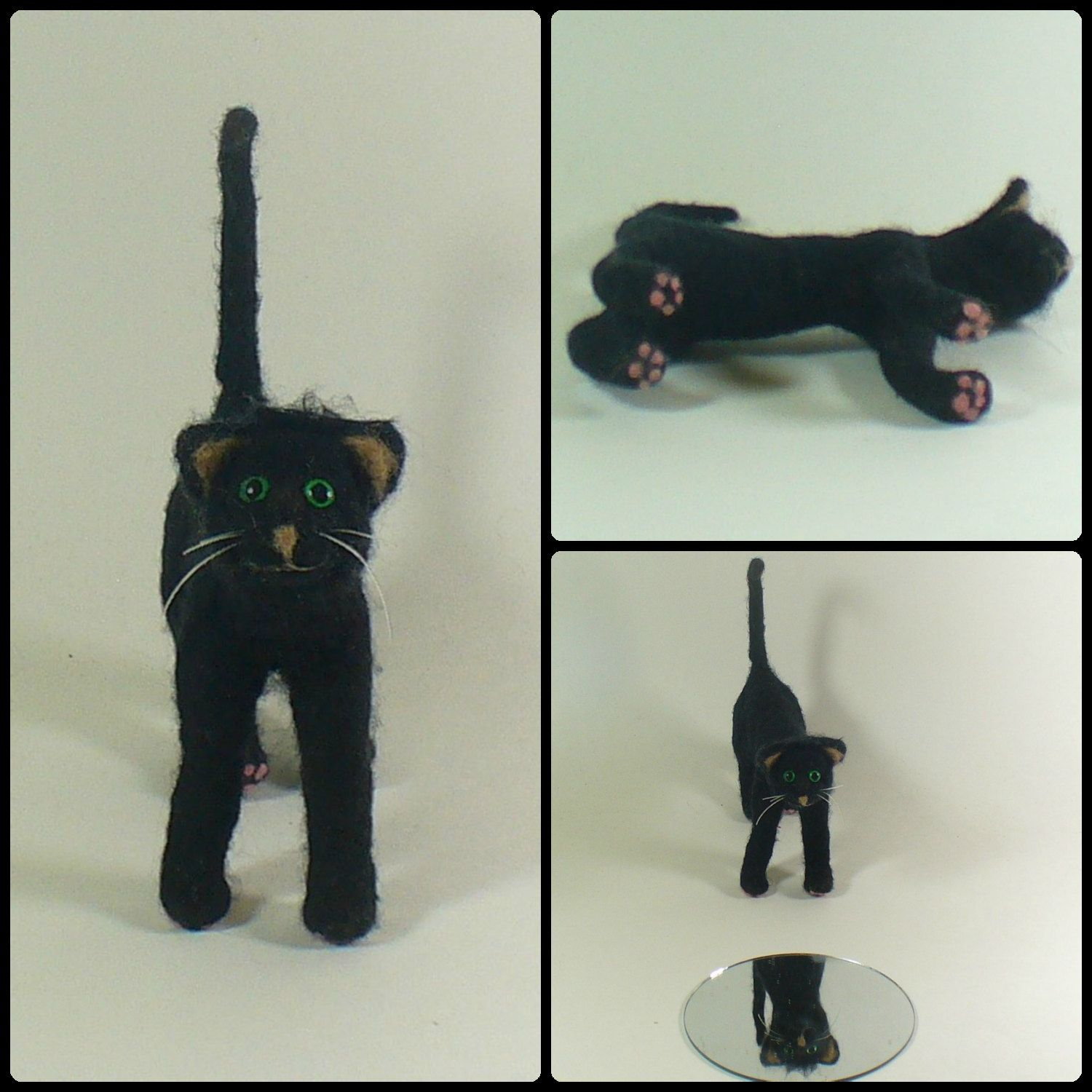 Black Kitty Cat, Needle Felted Soft Sculpture Fiber Art - pinned by pin4etsy.com
