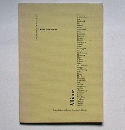 Leo Leuppi: Wegleitung zur Allianz-Ausstellung 1947. Kunsthaus Zürich, 1947. Designer: Max Bill