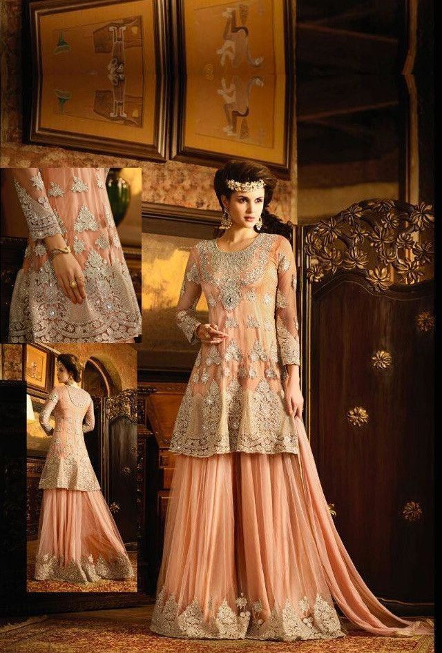3db887913 Peach designer plazo suit with dupatta