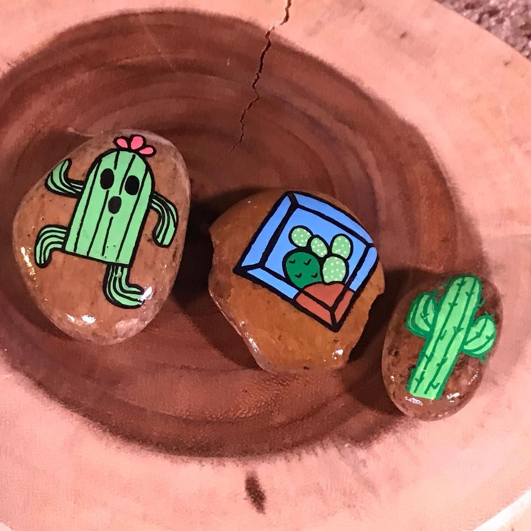 "PaintingJeri on Instagram: ""Crazy cactus club 🌵🌵🌵 . . . . . #happycreativelife #rockgifting #rockart #freeart #loveyourneighbor #pebblepainting #paintedrocks #love…"""