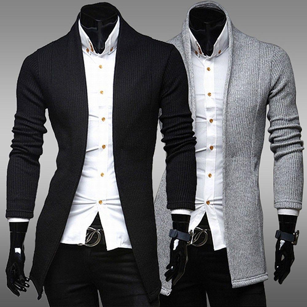 Men's Fashion Stylish Knit Cardigan Jacket Long Sleeve Casual ...