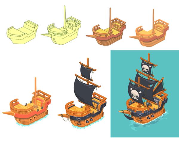 Games On Behance Pirate Art Boat Cartoon Isometric Art