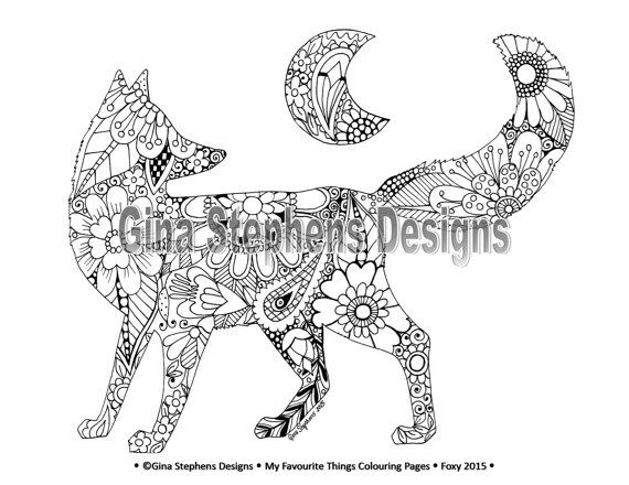 fox and rabbit adult colouring pages by lovetocolour on etsy