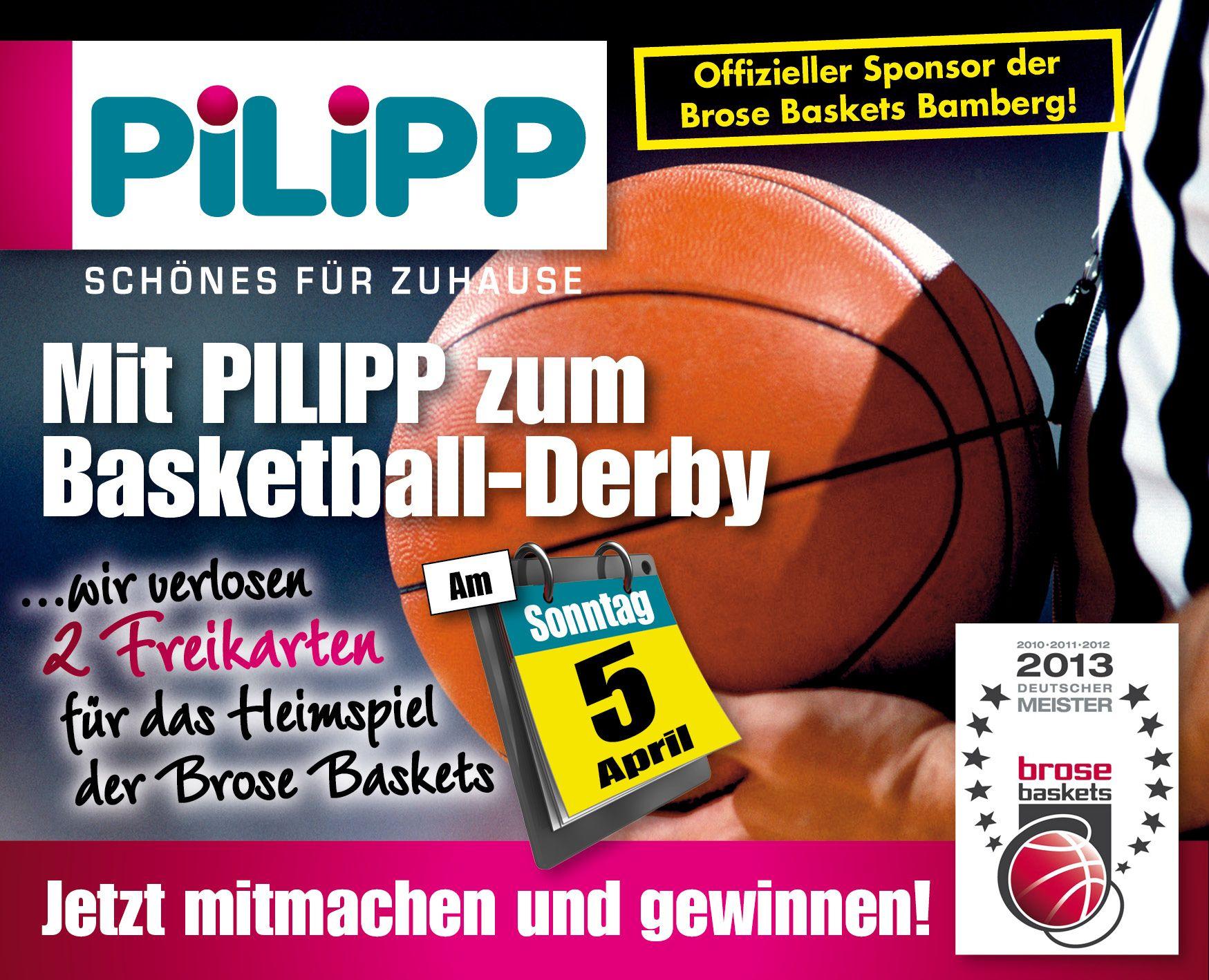 Mit PILIPP zum Basketball-Derby!   Link zum Gewinnspiel auf der PILIPP-Facebook-Seite: https://www.facebook.com/moebel.pilipp/photos/a.208250995883792.54309.164085870300305/878351192207099/?type=1&theater