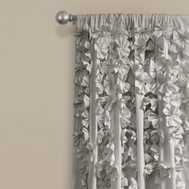 Clarkstown Floral Semi Sheer Rod Pocket Single Curtain Panel Lush Decor Panel Curtains Curtains