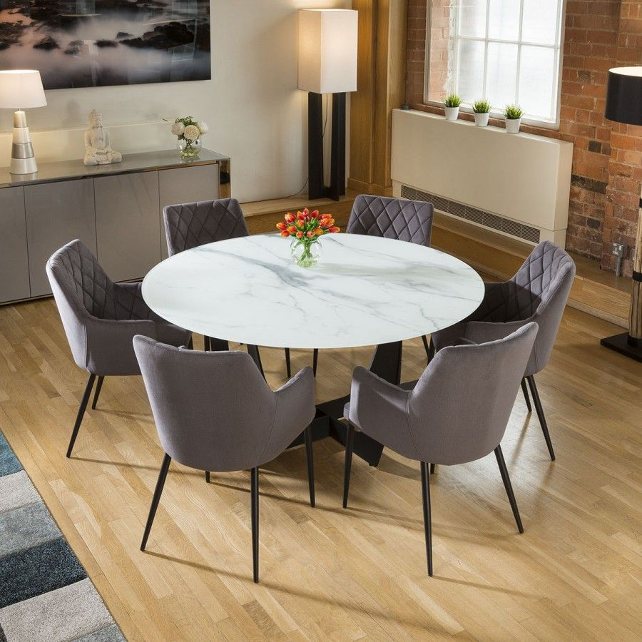 Round White Glass Marble Effect Dining Table 6 X Grey Carver Chairs Dining Table Marble Round Marble Dining Table Grey Dining Tables