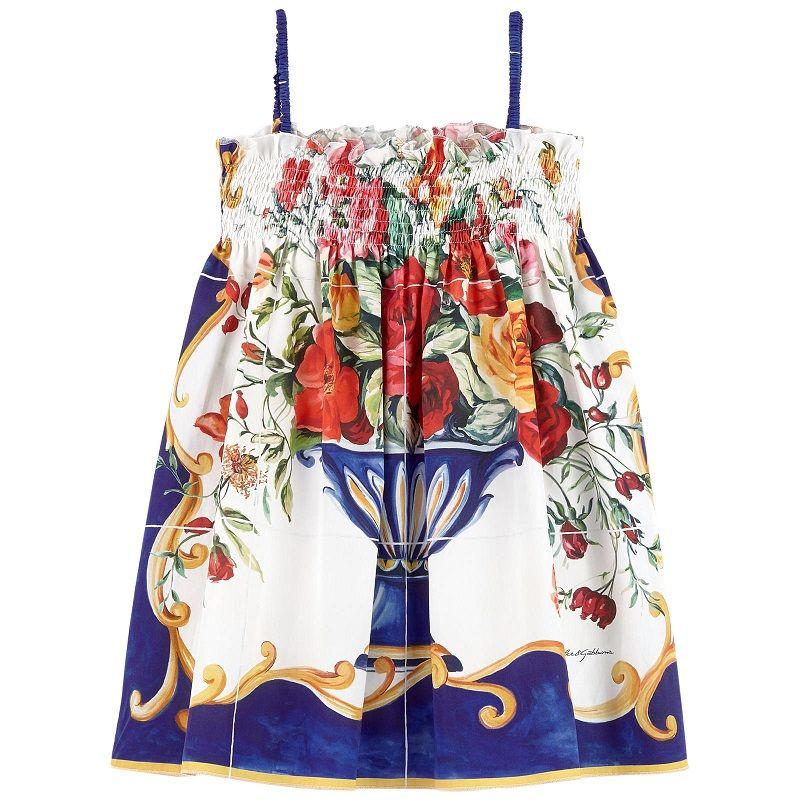 00b55de4ef0bc Robe bain de soleil imprimée Vase de fleurs Caltagirone Dolce   Gabbana  pour fille
