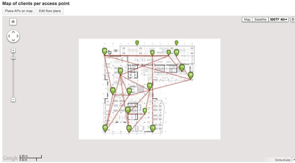 Cisco Meraki Dashboard shot showing a map of wireless