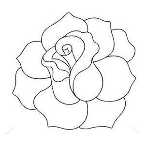 Flower outline rose. Black and white clip