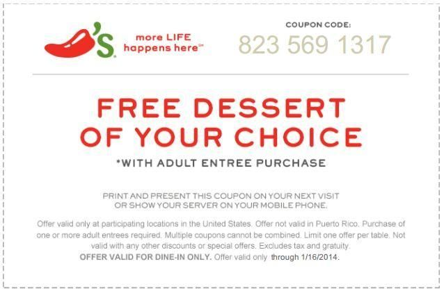 Chili S Coupon For Free Dessert With Entree Via Yipit Http Yipit Com Business Chilis Free Dessert 1 Chilis Coupons Printable Coupons Free Printable Coupons