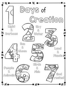 days of creation coloring pages Days of Creation Coloring Page and Handwriting Practice | Church  days of creation coloring pages
