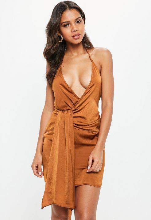c4895606e55d Missguided Rust Strappy Hammered Satin Drape Shift Dress | romantic ...