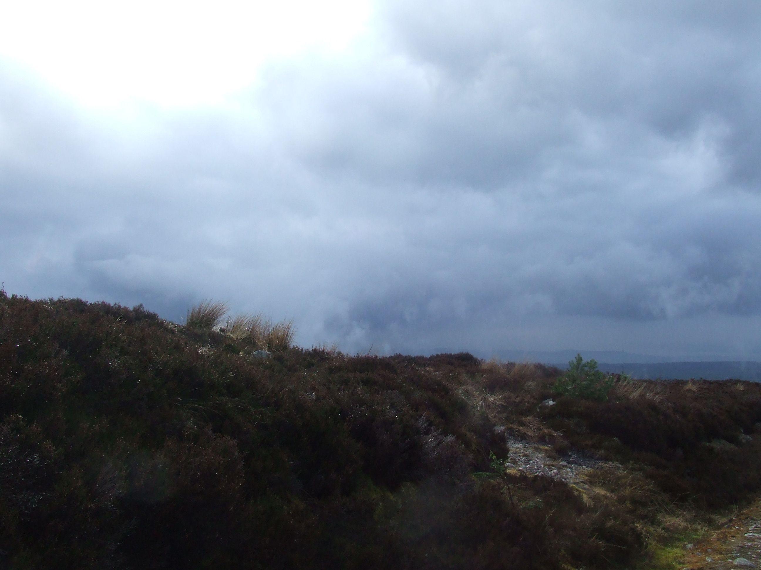 Saddle Hill above Culloden Battlefield, sun, sleet, rain