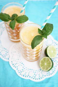 PEACH AND BASIL FROZEN DAIQUIRI  Peaches, Basil, lime juice, rum, orange liqueur