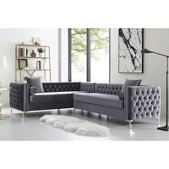 Alison Velvet Corner Sectional Sofa 120 Corner Sectional Sofa Sectional Sofa Leather Sectional Sofas