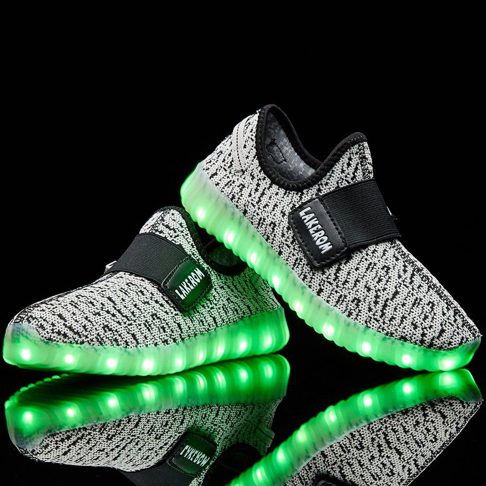 USB Charge LED Flash Light Up Shoes Kids Boy Girl Casual Trainers Sneakers Green