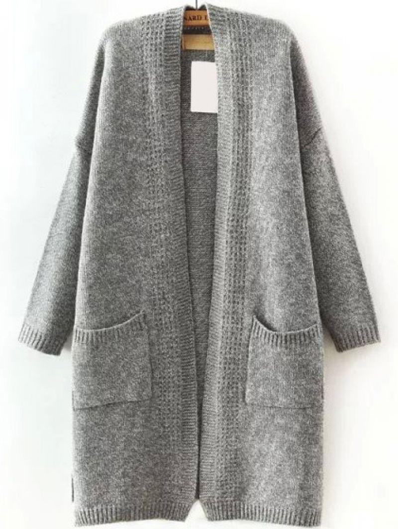 Buy Long Sleeve Slit Side Pockets Coat from abaday.com, FREE shipping Worldwide - Fashion Clothing, Latest Street Fashion At Abaday.com