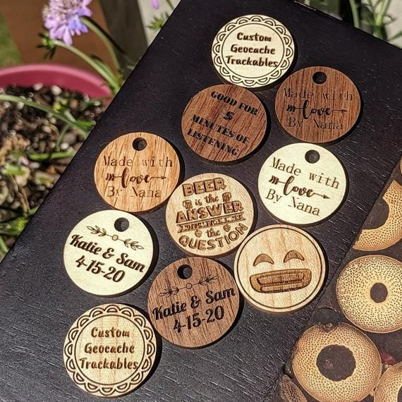 Custom Wood Coins Laser Engraved Personalized 1 Inch Circles In