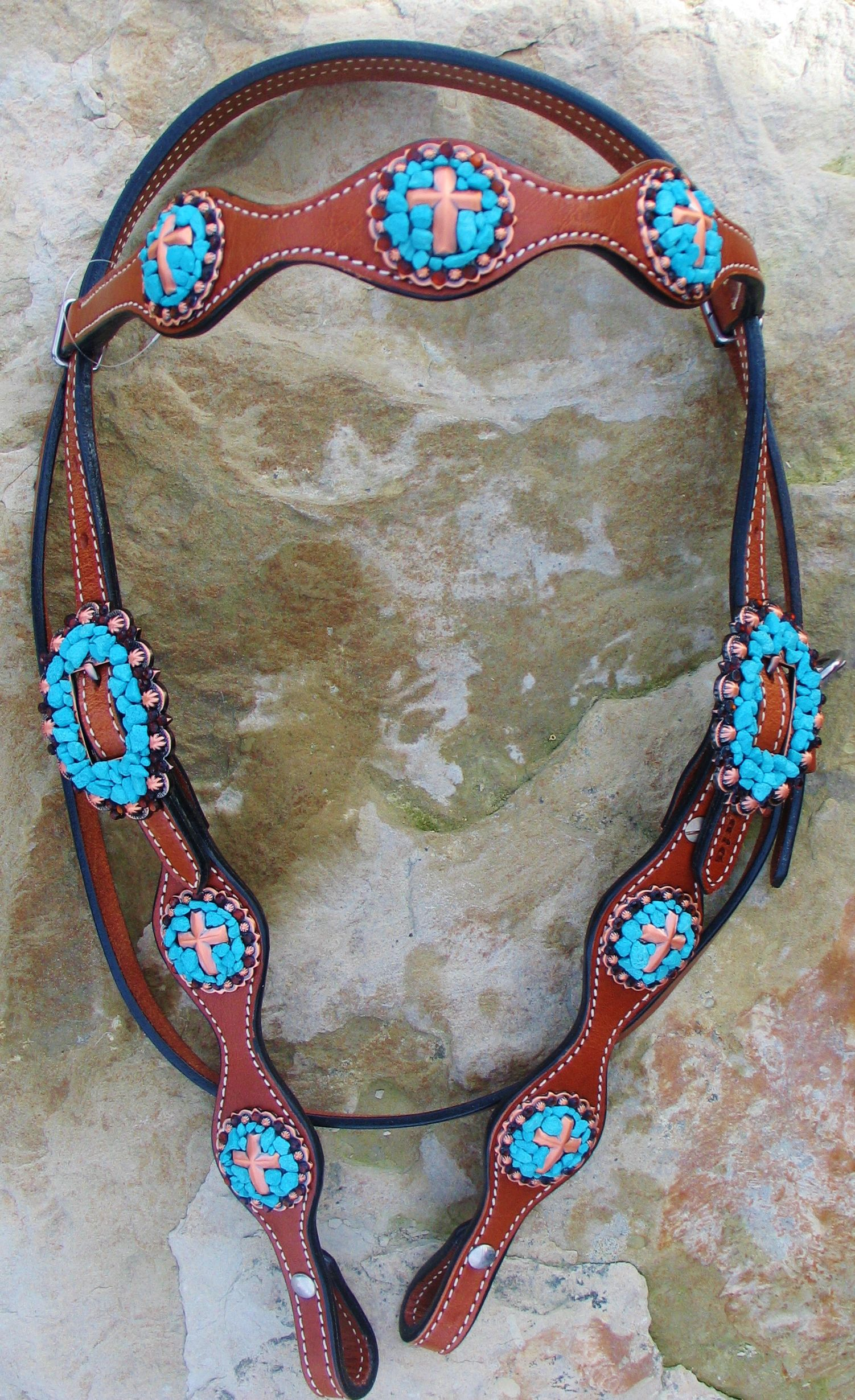 Custom Designed Western Headstall Accented With Copper