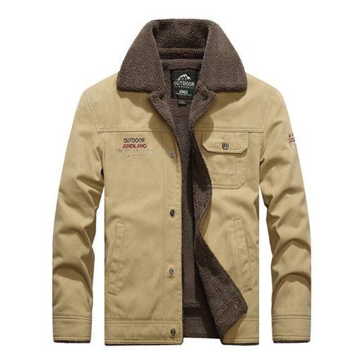 BYWX Men Winter Fleece Linen Button Down Pockets Letters Print Denim Shirts