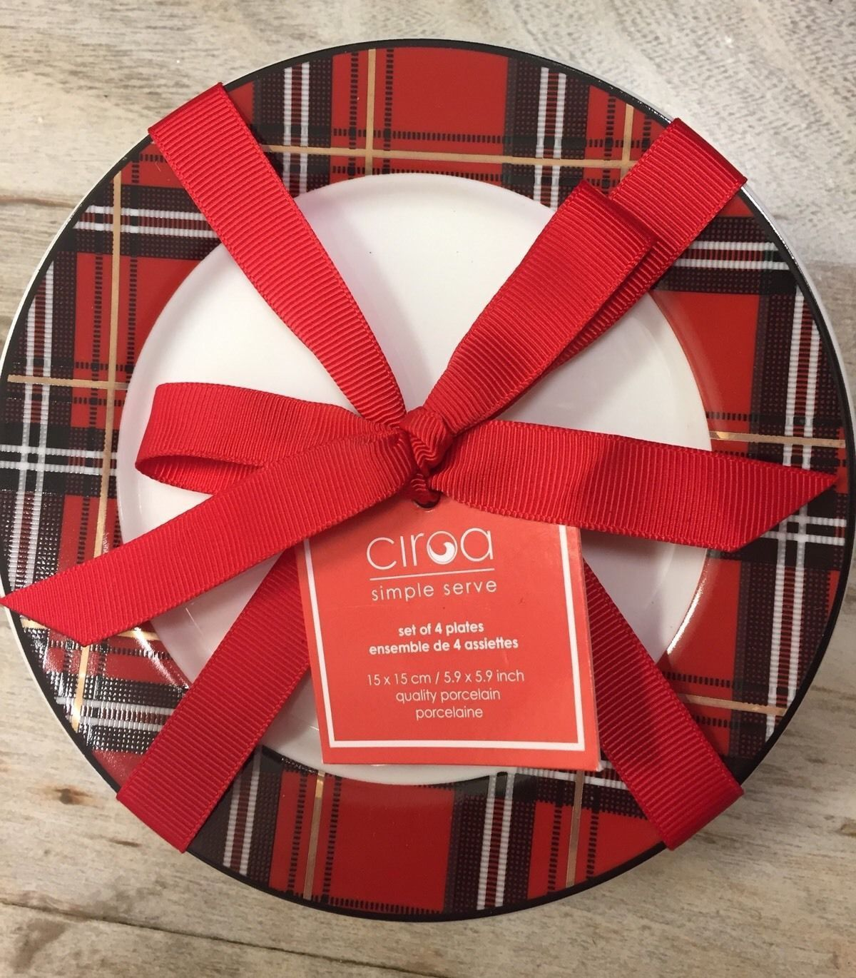 Tartan Plaid Red u0026 Black Porcelain Bread Snack Plates Set of 4 NEW Ciroa & Tartan Plaid Red u0026 Black Porcelain Bread Snack Plates Set of 4 NEW ...