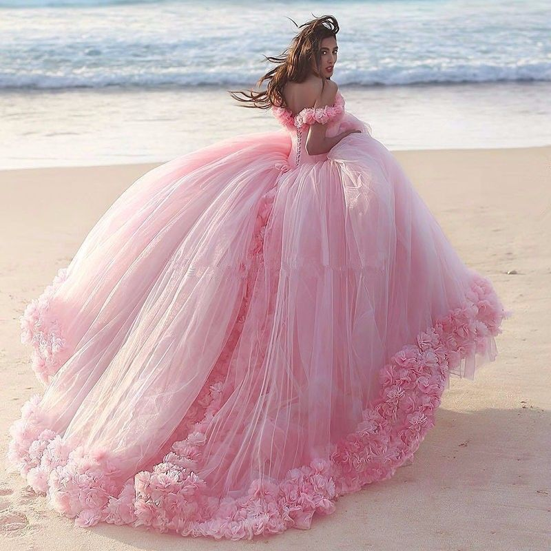 Custom pink vestidos de quinceañera debutante de la cola larga ...