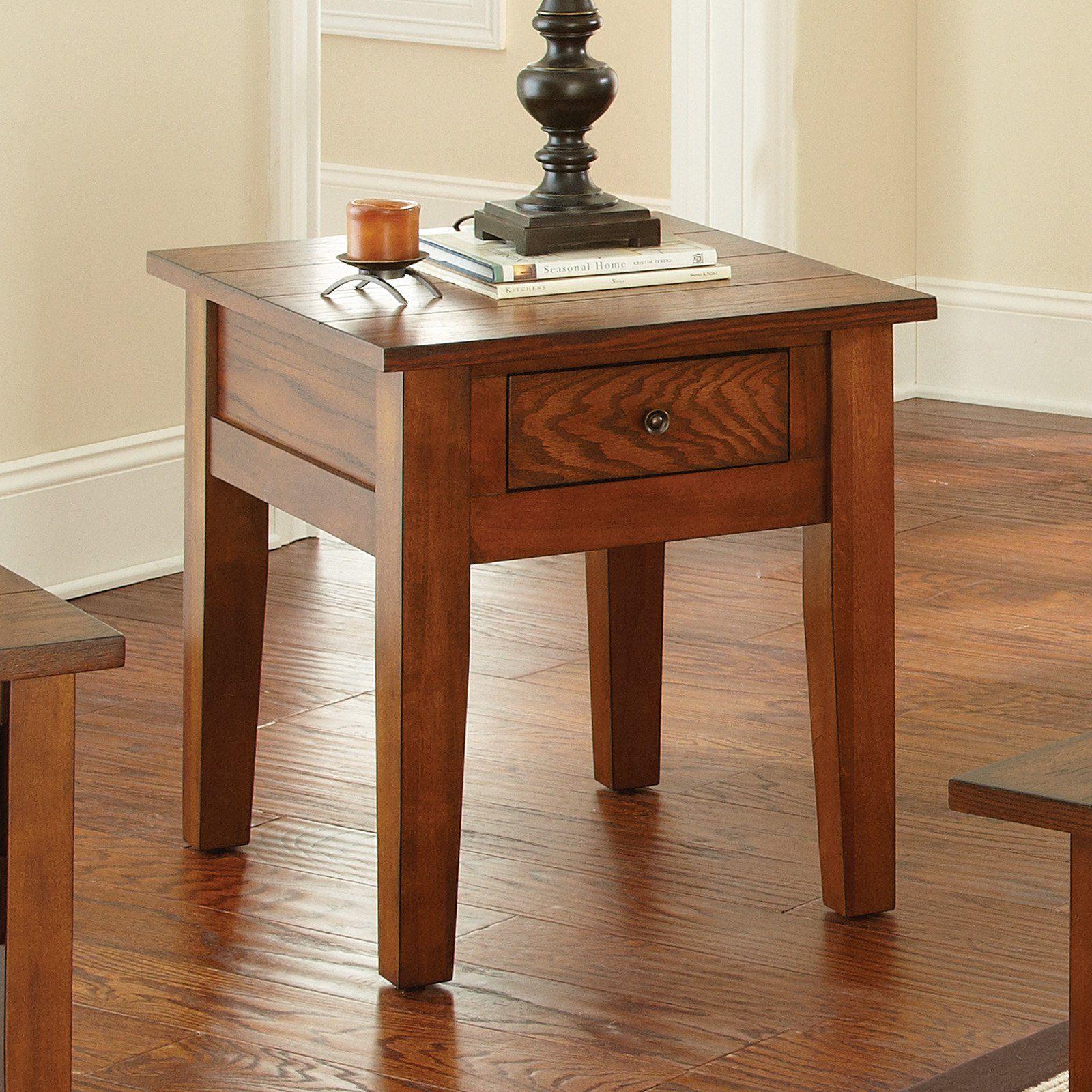 Steve Silver Desoto Rectangle Dark Oak Wood End Table Wood End Tables End Tables End Tables With Drawers
