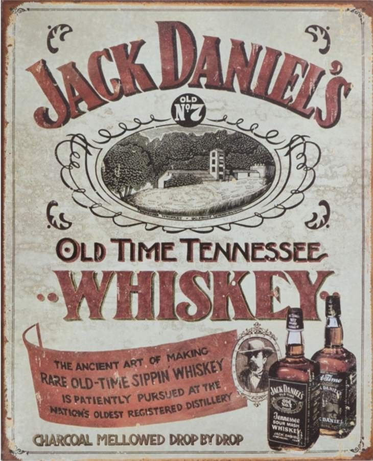Tennessee Whiskey 7 Brand Tin Metal Sign Jack Daniels Old No Retro Button