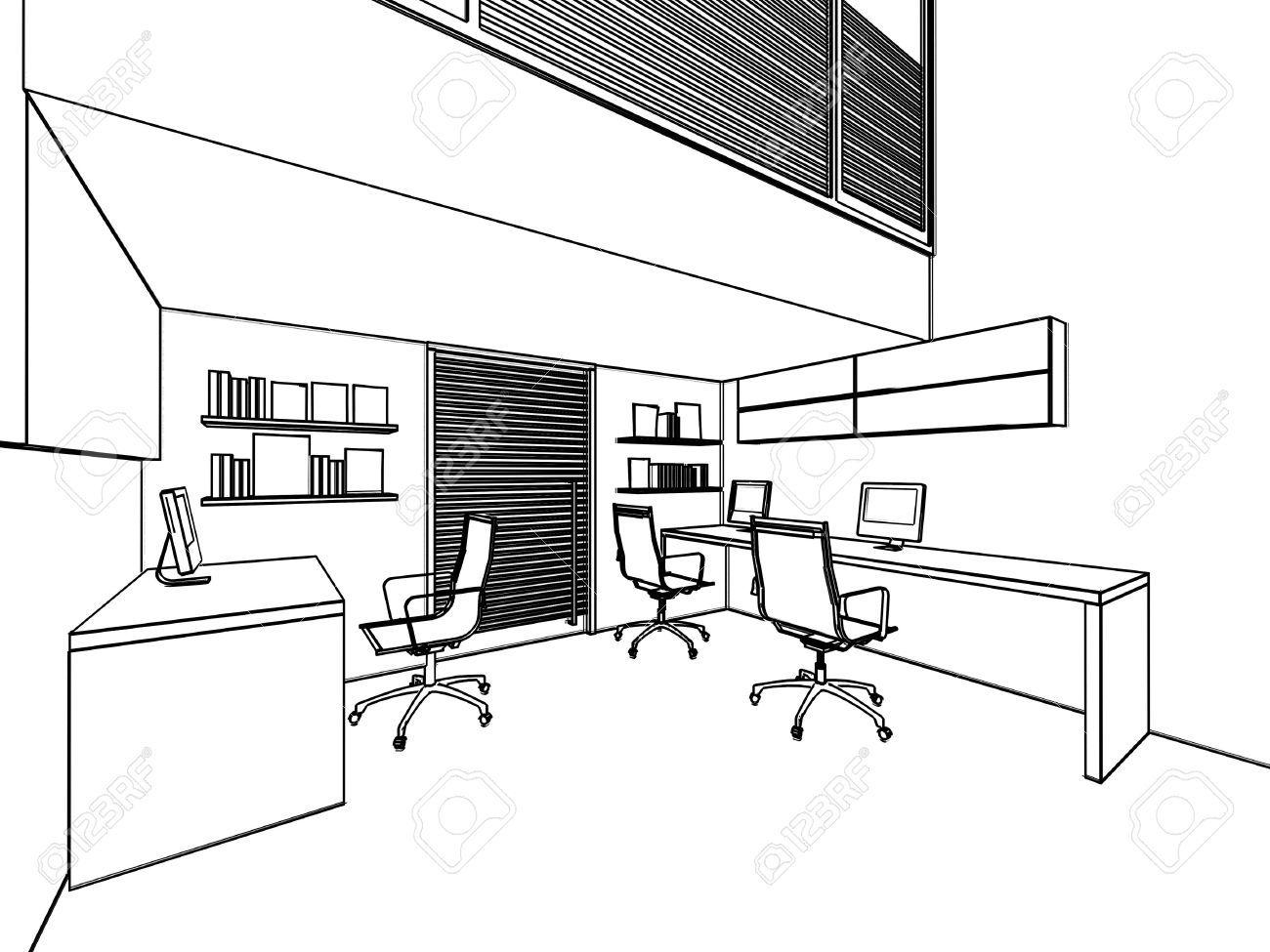Prinzipskizze Zeichnung Perspektive Eines Innenraum Bro