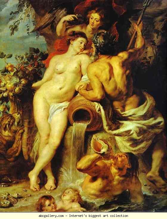 Rubens - The Union of Earth and Water. The four elements, Earth, Air, Fire, and Water, were considered to be fundamental elements of the world contents, and were usually depicted as classical gods and goddesses. Earth is personified by Demeter (Ceres); Water is personified by a river god; Air is usually represented by Hera (Juno); Fire is represented by Hephestus (Vulcan) or may be depicted as a woman with her head in flames