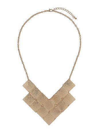 Gold textured squares necklace - Bijoux  - Accessoires