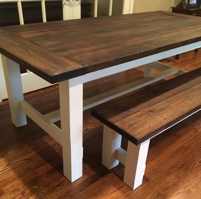 standard style farmhouse table stained in minwax jacobean with