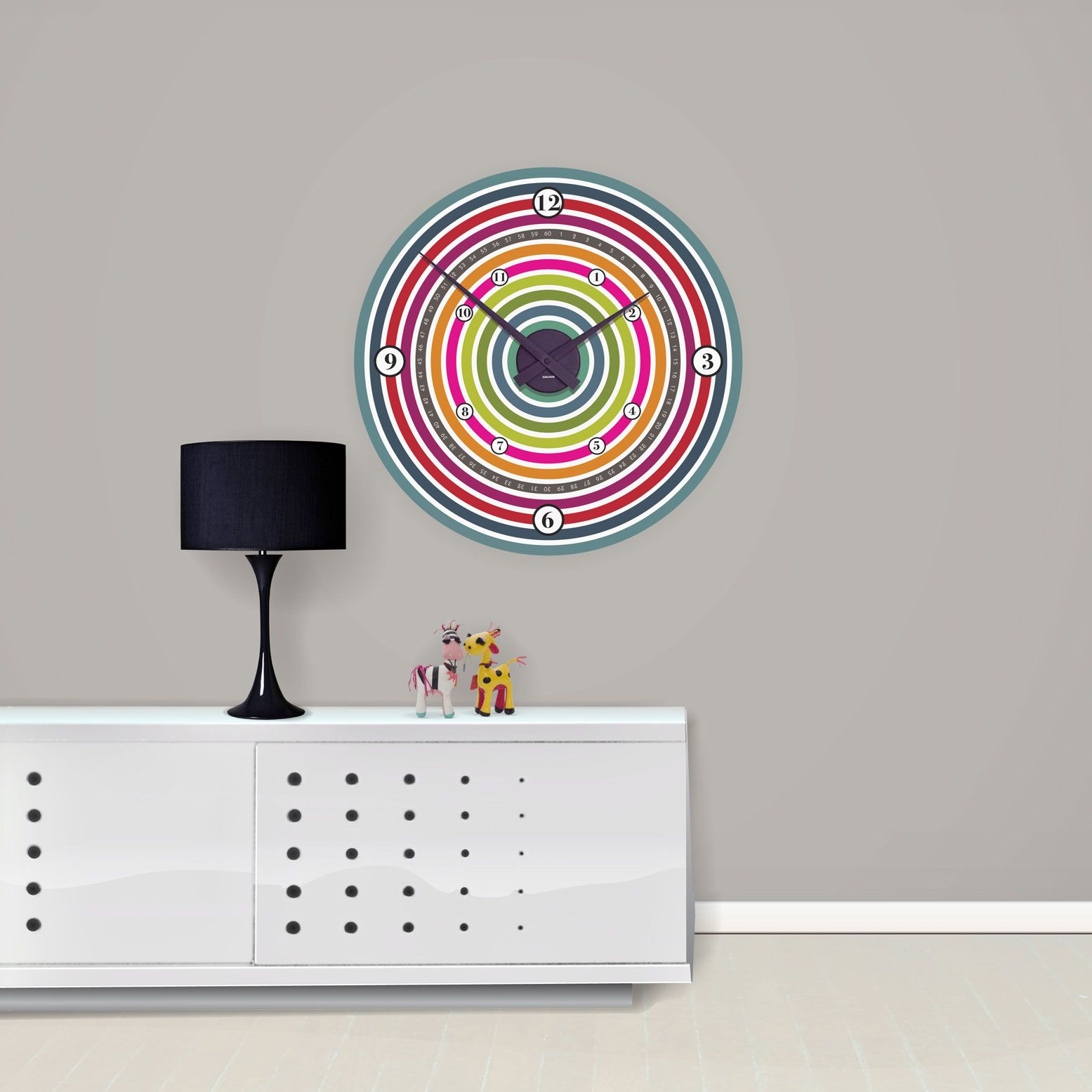 Colour Wheel Wall Clock: What A Great Stylish, Funky Large Retro Wall Clock  ! This Clock Is Guaranteed To Brighten Up Any Room And Wall With Its Multi  ...