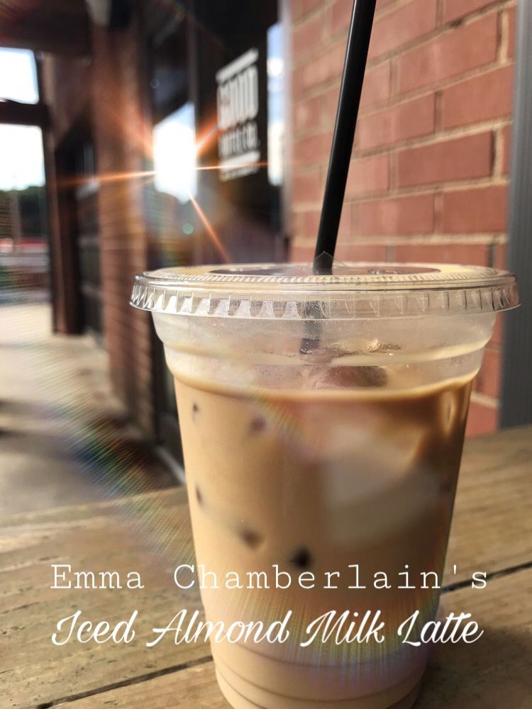 Emma Chamberlain S Iconic Iced Almond Milk Latte 1 2 Cup Coffee 1 Cup Almond Milk 1 3 Cup Frenc Iced Almond Milk Latte Almond Milk Latte Almond Milk Coffee