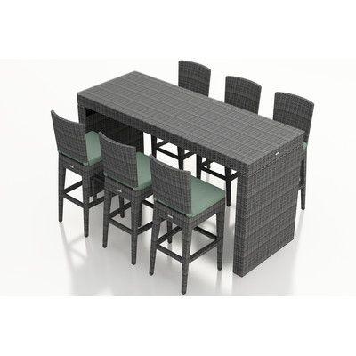 Harmonia Living District 7 Piece Bar Set with Cushions Fabric: Canvas Spa