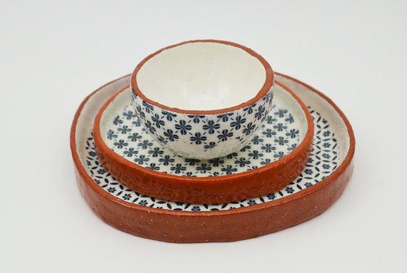 Wonderful Set of 3 Patterned Dishes - Ceramic Plates - Vintage Look Pottery - Handmade Pottery - Ceramics and Pottery