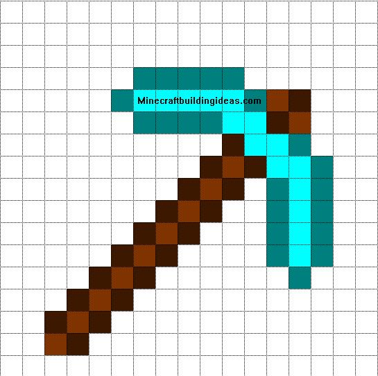 Minecraft Pixel Art Templates Diamond Pickaxe Minecraft