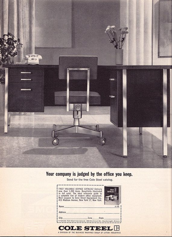 Vintage Ad Cole Steel Office Furniture Early 1960s Modern Desk Chair Mad Men
