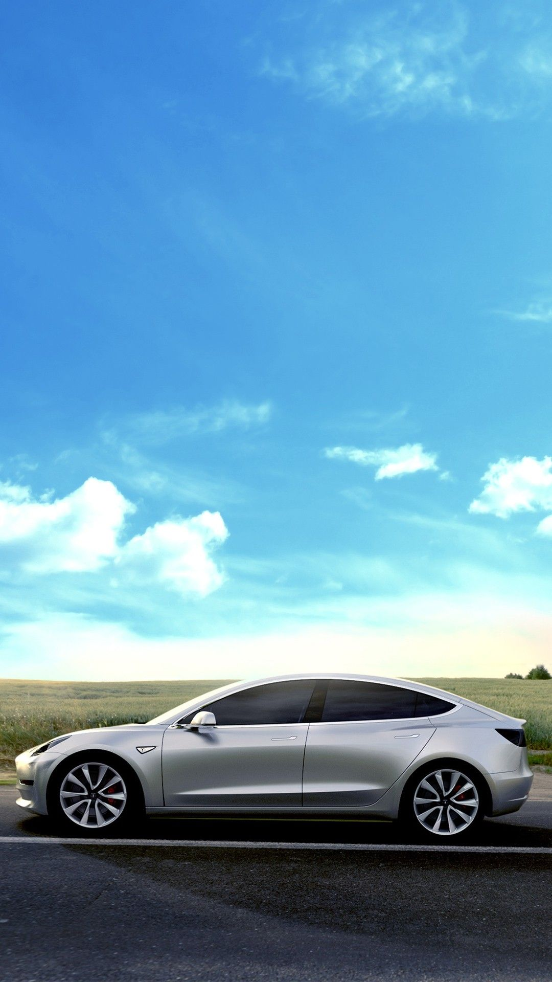 Tesla Model 3 Sky Clouds Smartphone Wallpaper and