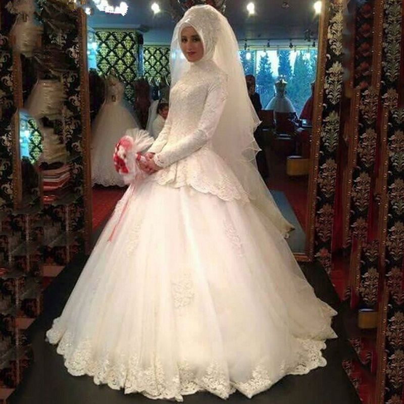 Free Shipping Buy Best Graceful Long Sleeve Muslim Wedding Dresses Turkey Robes De Mariees Pe Bridal Gowns Mermaid Muslim Wedding Gown Ball Gowns Wedding,Wedding Short Royal Blue Bridesmaid Dresses